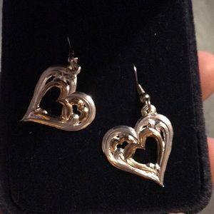 Silver & Gold Heart Western Earrings